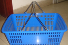 Green 32 Litres Hand Shopping Basket , Supermarket Wire Grocery Basket Metal Handle