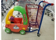 Unfolding Supermarket Metal Shopping Trolley , Kids Shopping Cart With Plastic