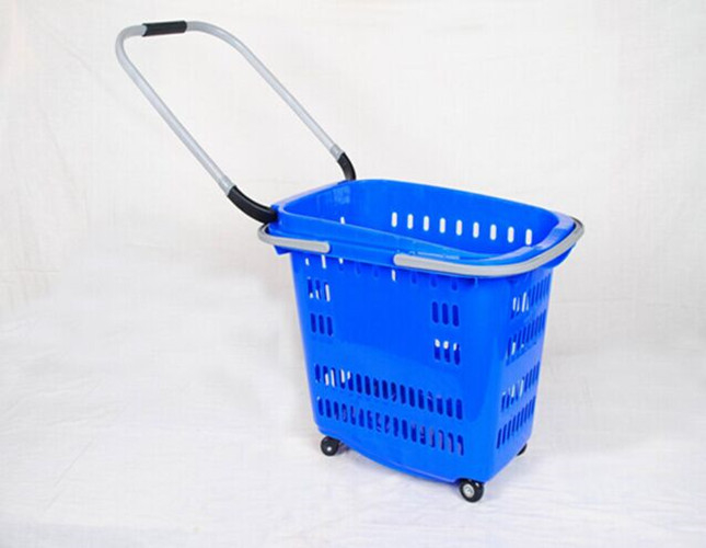 40 Liters Shopping Basket With Wheels Supermarket Carts / Rolling Shopping Basket