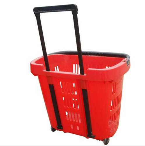 Virgin PP Wheeled Shopping Trolley Durable Pull Lift Plastic Basket 2Pcs Handle