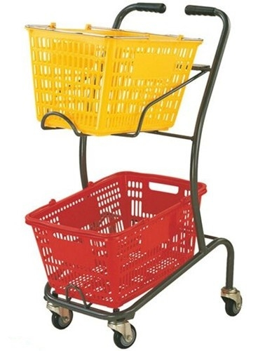 Wire Mesh Shopping Basket Trolley Japanese Style / Double Basket Shopping Trolley With 4 Swivel Wheels