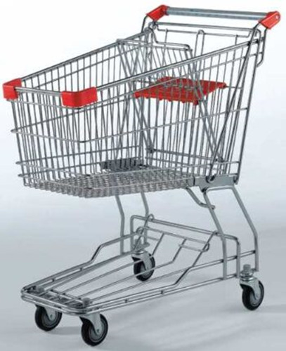 Galvanized Supermarket Shopping Cart 2 Tiers Grocery Store Baskets On Wheels