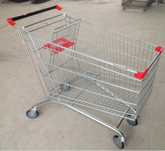 210L Wire Grocery Basket  Anti - Rust Steel 4 Wheel Shopping Trolley With Castors