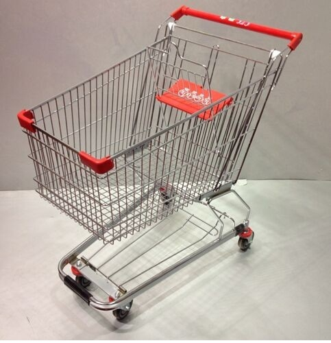 60L Four Wheel Shopping Trolley Grocery Store Carts Low Carbon Steel
