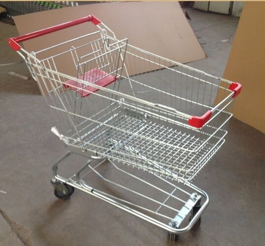 Metal Supermarket Rolling Shopping Carts Chrome Plating 90L With Baby Seat