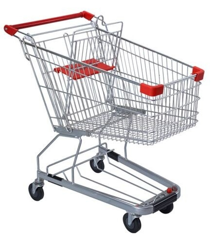 125 Litres Solid Metal Grocery Shopping Trolley Powder Plated With Tube Chassis