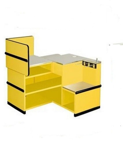Yellow Supermarket Metal Express Checkout Counter Cash Register Table With Hooks