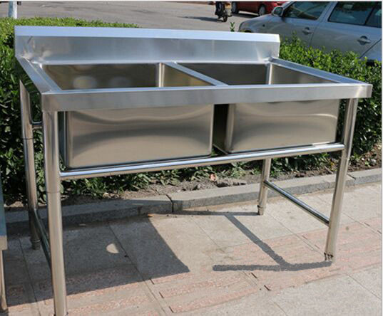 Corrosion Resistant Stainless Steel Display Racks Double Bowl Kitchen Sink