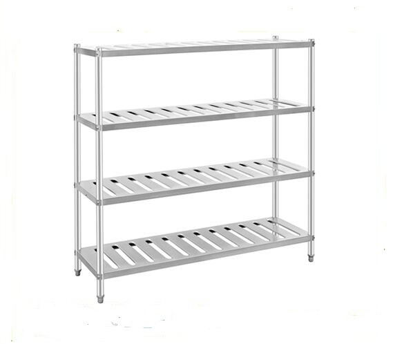 Disassembly 4 Tiers Stainless Steel Display Racks , Polished Storage Baker Rack Shelving
