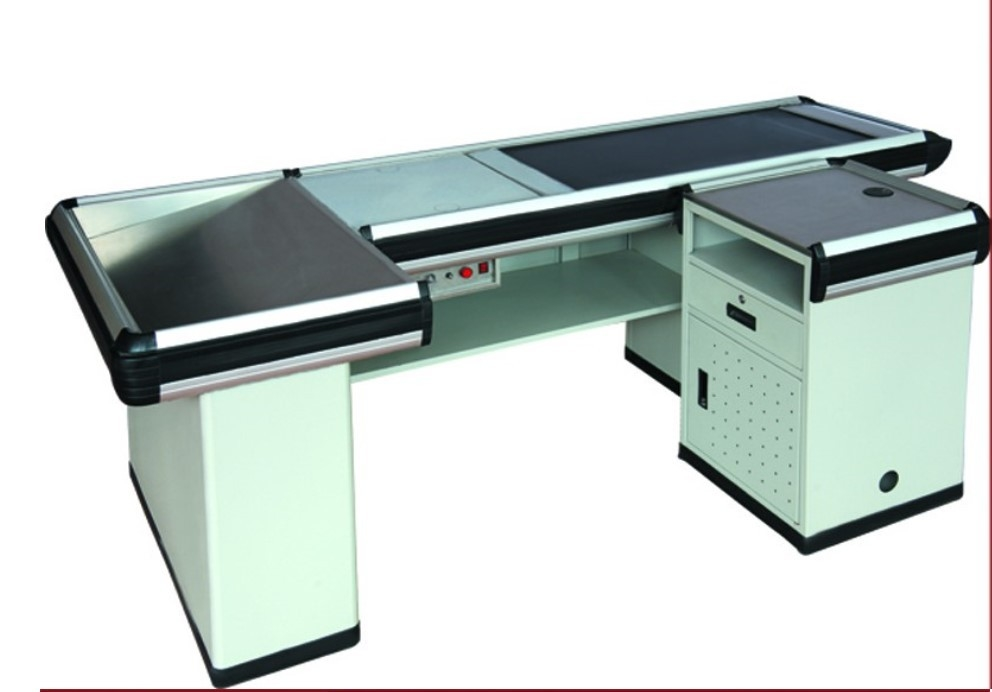 Automatic Cash Desk Stainless Steel Table Iron Steel Plates Retail Store Checkout Counters