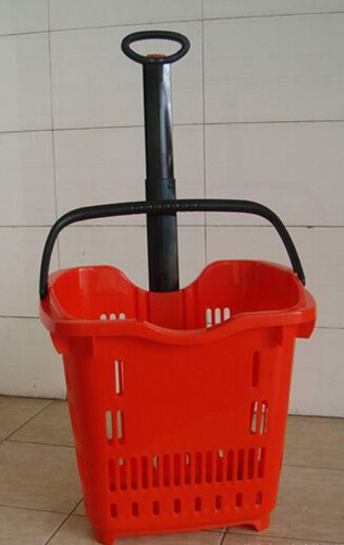 Plastic Telescope Supermarket Rolling Shopping Basket With 2 PU Wheels