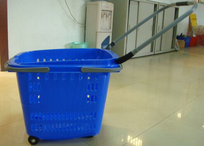 Supermarket Rolling Trolley Shopping Basket With Wheels Large Volume