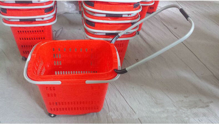 Foldable Plastic Shopping Basket With Wheels For Supermarket / Retail Shop