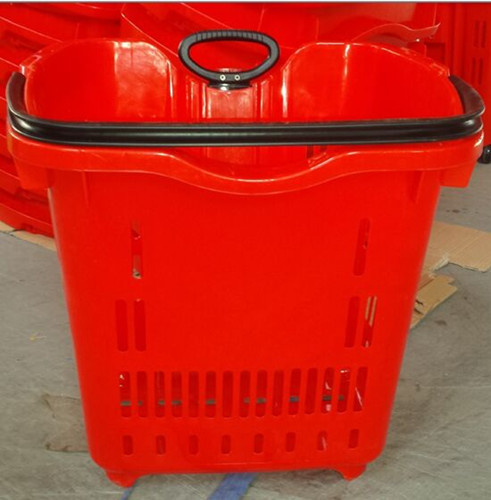 40L Household Shopping Trolley Basket With Pulling Handle And Wheels