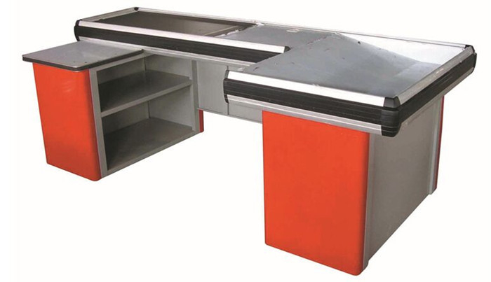 Grocery Store / Supermarket Conveyor Belt Checkout Counter With Cold Rolled Steel Material