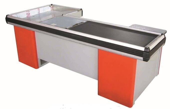 Durable Supermarket Cashier Checkout Counter With Conveyor Belt , Corrosion Protection