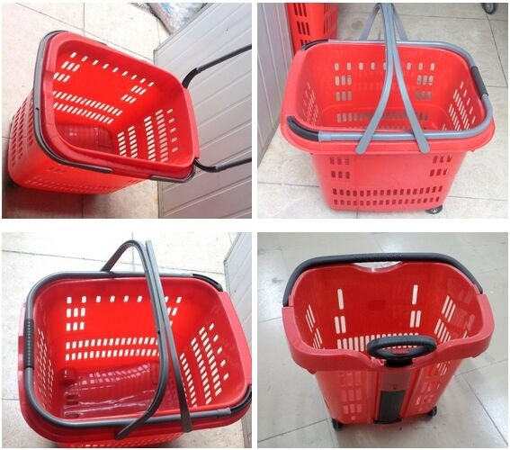 Stackable Plastic Shopping Basket With Wheels For Grocery / Supermarket