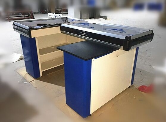 Metal Steel Supermarket Cash Counter With Conveyor Belt / Cash Counter For Retail Store