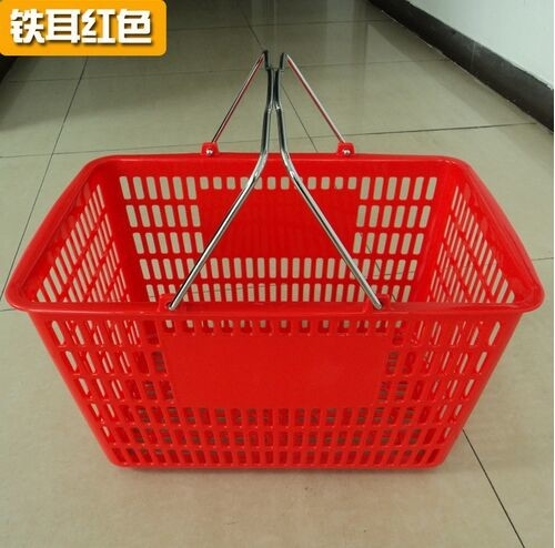 Collapsible Plastic Shopping Baskets With 2 Metal Handle / Durable Storage Basket