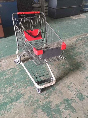 Coated Metal Steel Grocery Store Powder Shopping Trolley With 4 Wheel , SGS / ISO9002