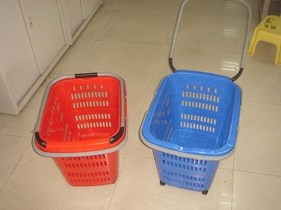 Folding Virgin Plastic Rolling Hand Basket With Wheels / Recycle Shopping Basket