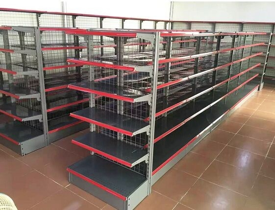 Gray Gondola Racks Steel Supermarket Display Shelving for Convenient Store