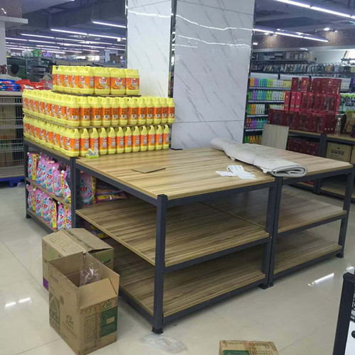 3- Tier Folding Metal Tube Wooden Display Stands / Wooden Store Displays For Supermarket