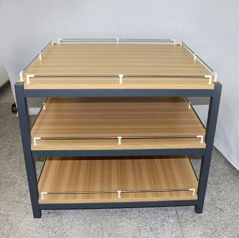 Anti Rust Retail Store Iron Promotion Wooden Display Rack With Barrier / Wood Display Stand