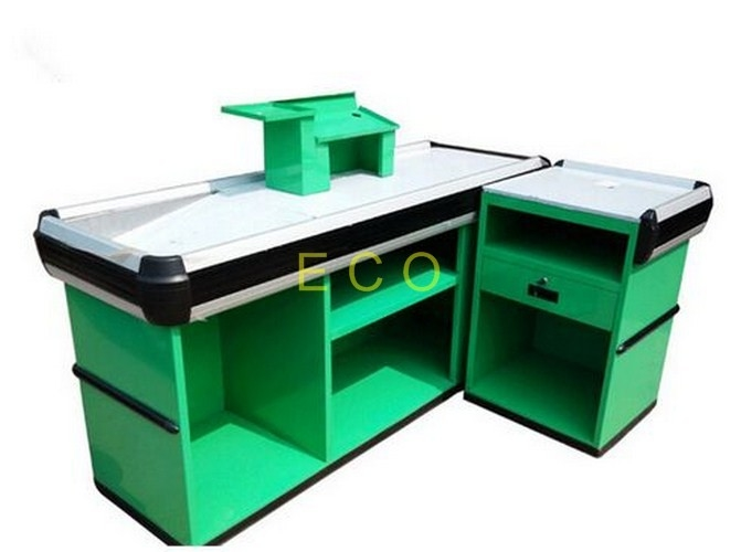 Custom Green Cashier Checkout Display Counter For Retail Store / Supermarket