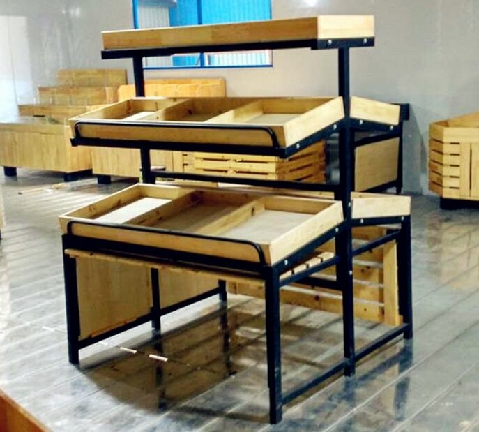 3 Tiers Collapsible Metal Wooden Display Rack For Retail Shop ISO9001