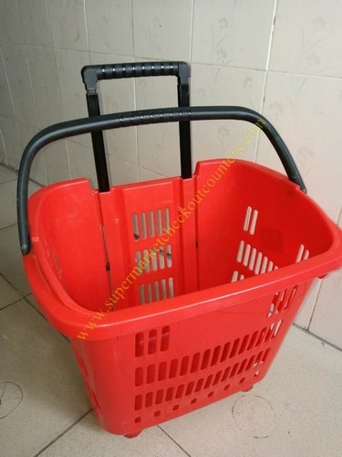 Durable Plastic Folding Red Shopping Hand Basket With Wheels /  Trolley Basket For Shop