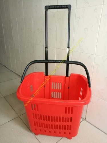 HDPE Hand Rolling Shopping Basket On Wheels For Supmermarket , 25kg Capacity