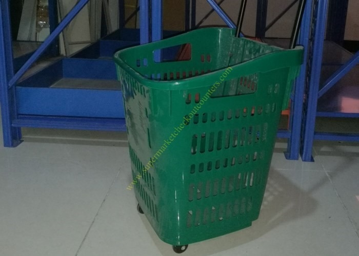 PP Rolling Supermarket Shopping Basket / Cart With Four Wheels 435 * 420 * 550mm