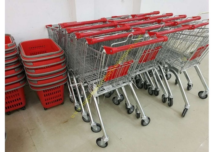 OEM Euro Style Metal Supermarket Four Wheels Shopping Trolley For Store