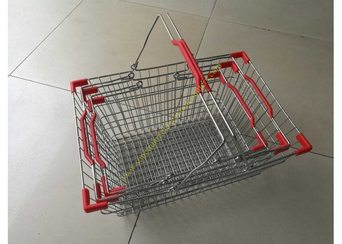 Steel Chrome Plated Supermarket Metal Wire Hand Held Shopping Baskets With Double Handles