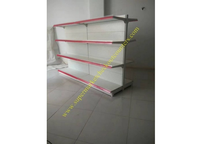Supermarket Merchandise Metal Gondola Display Floor Stand / Pegboard Shelving