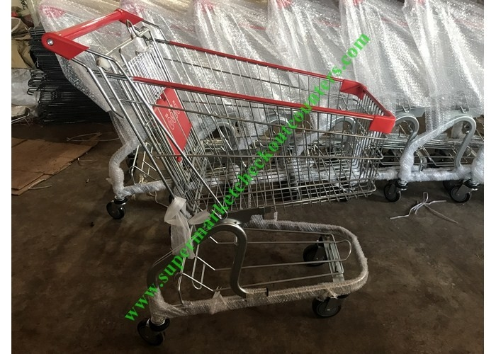Store / Supermarket Shopping Cart / Cargo Trolley With PU Wheels
