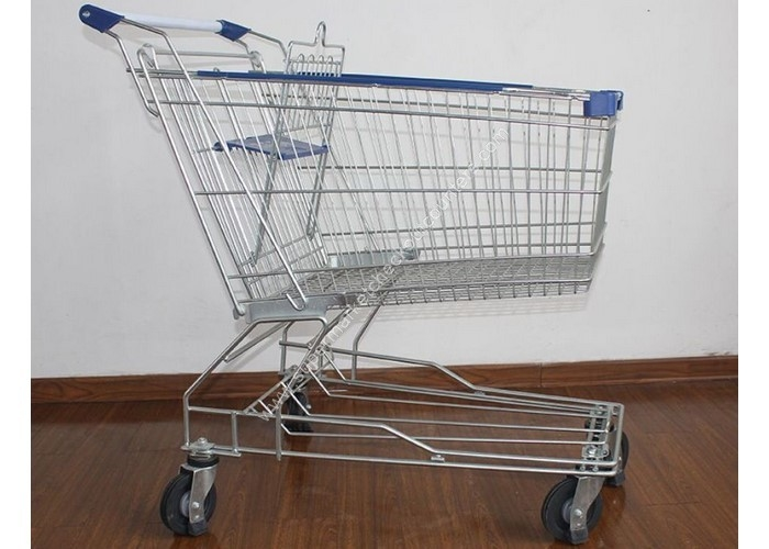 Supermarket Metal Handcart Rustless 4 Wheels Shopping Trolley For Shop