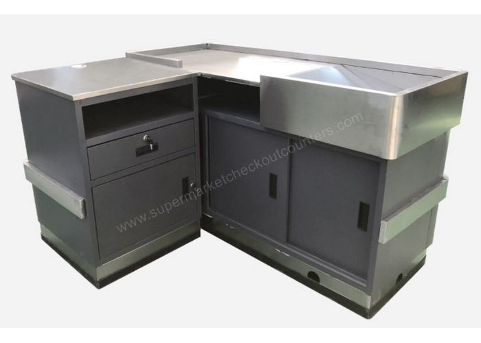 Supermarket Cashier Table / POS Stainless Steel Retail Cashier Desk
