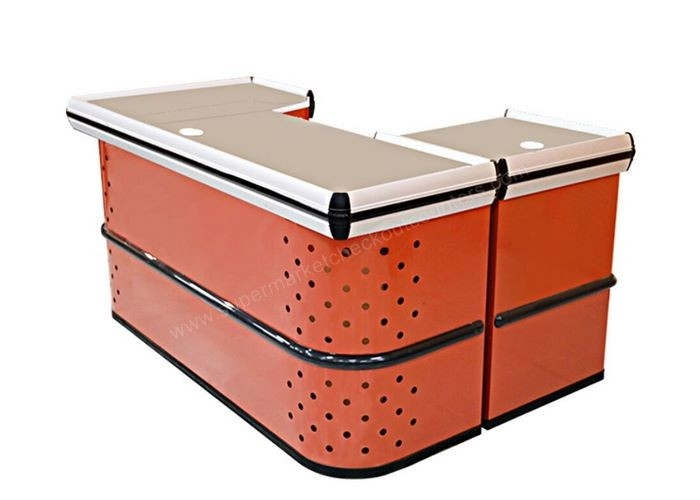 Orange Checkout Counters For Retail Stores / Boutique Cash Wrap Counter