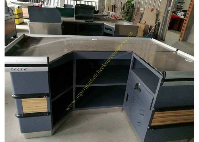 Retail Shop Cashier Checkout Counter / Durable Wooden Cashier Desk
